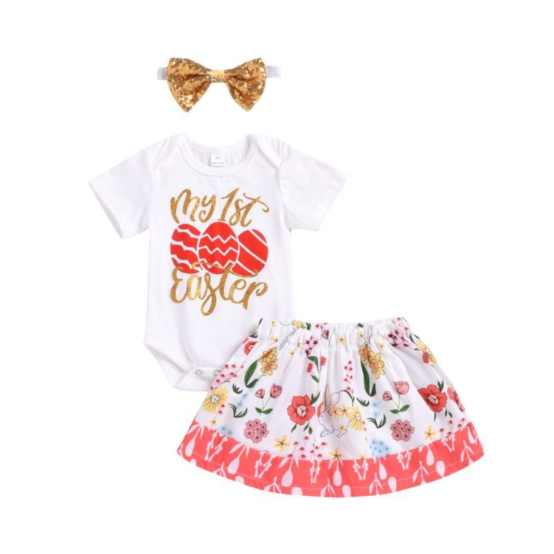 1a06ccdbd 3-Piece Baby Girl My 1st Easter Outfits Short-sleeved Romper+Flower Skirt