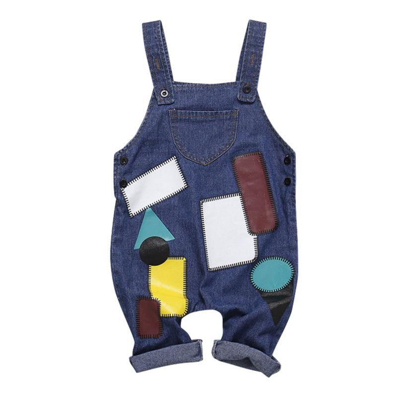 Spring Stylish Baby Little Kids  Denim Bib Overalls
