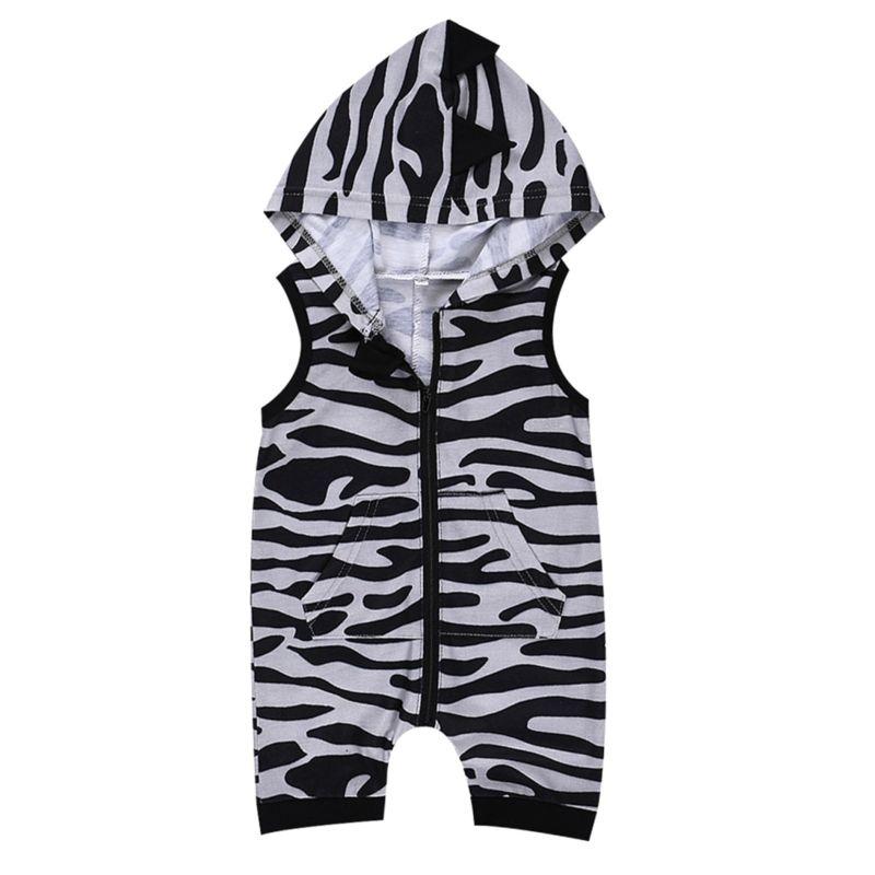 Fashion Baby  Hooded Sleeveless Zebra-stripe Romper Onesie