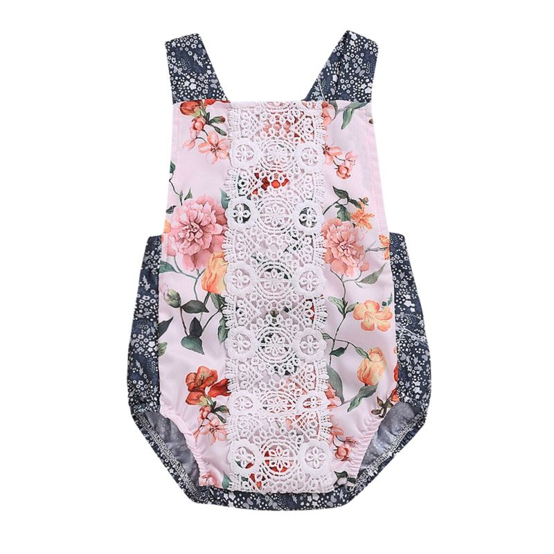 Flower Lace-trimmed Sleeveless Baby Romper Bodysuit