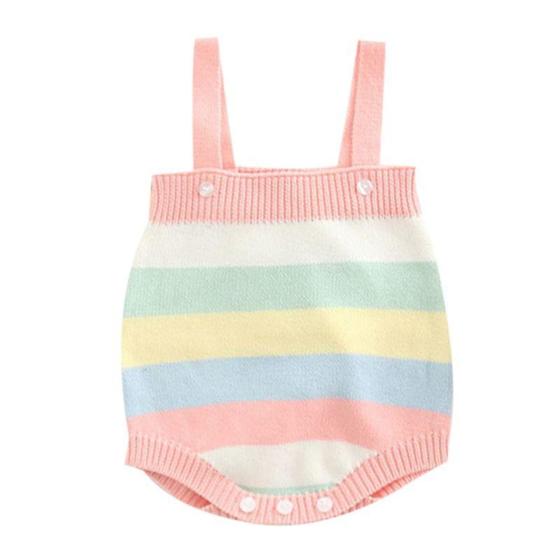 Cute Rainbow Color Baby Cotton Romper Onesie