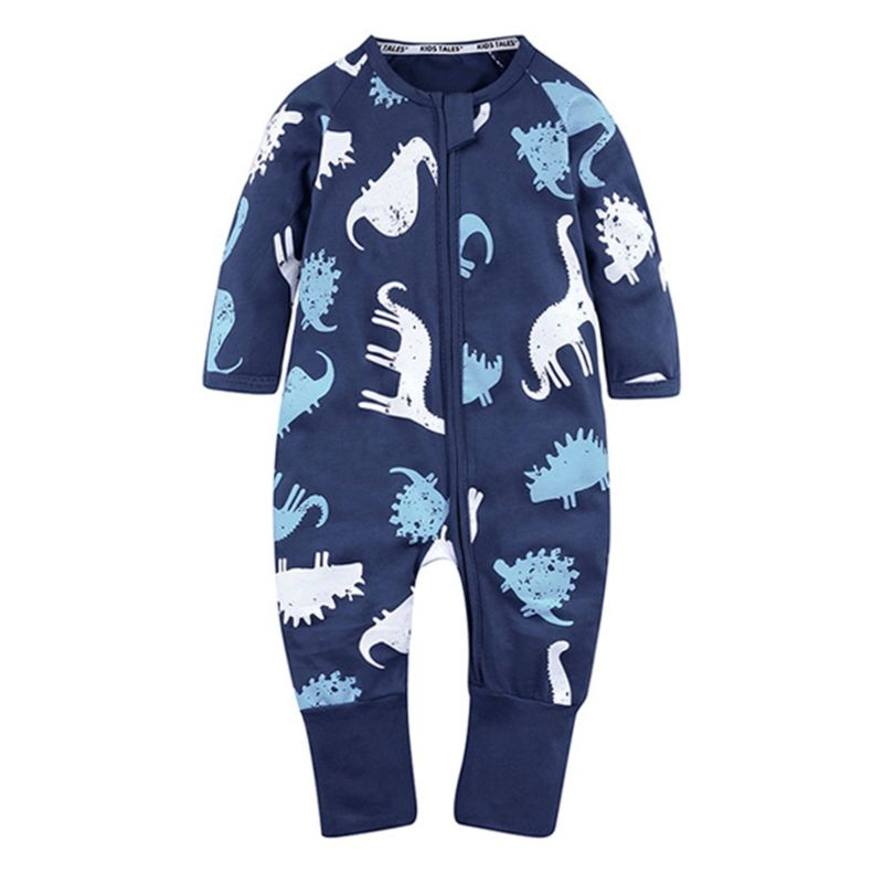 Spring Cartoon Animal Zip Baby Unisex Jumpsuit