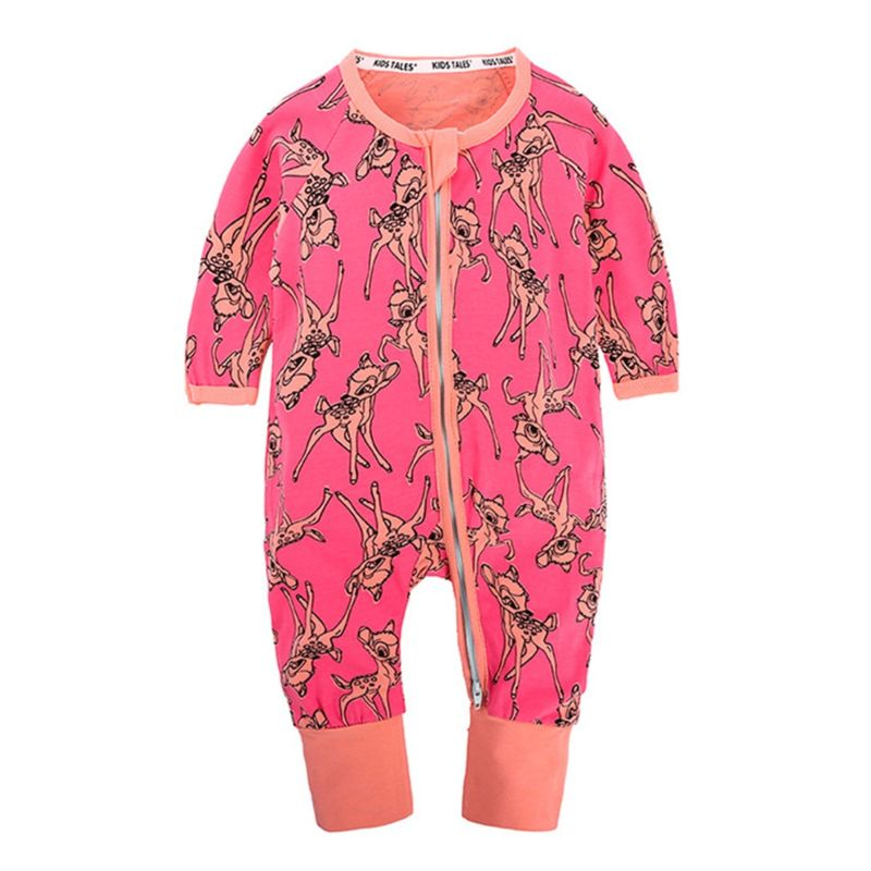 Spring Infant Unisex Printed Zip Overalls
