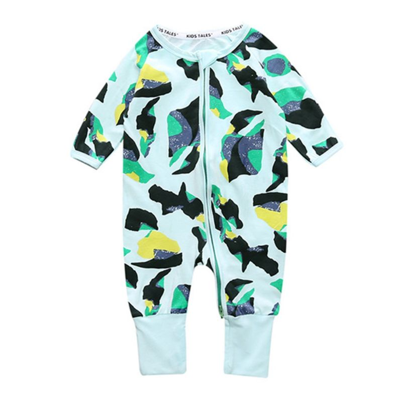 Spring Baby Boys Girls Printed Zip Jumpsuit