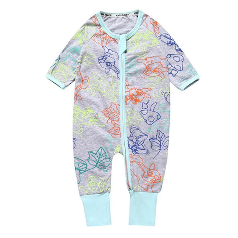 Spring Infant Boys Girl Printed Zip Overalls