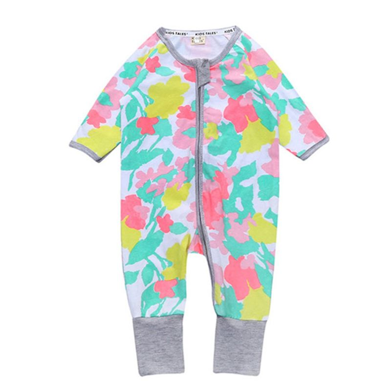 Spring Cute Baby Boys Girls Printed Zip Jumpsuit