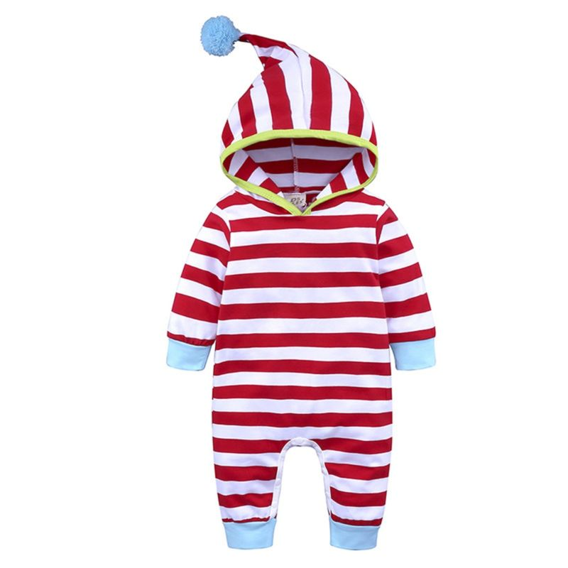 Pom Trimmed Stripe Baby Jumpsuit Overalls for Spring
