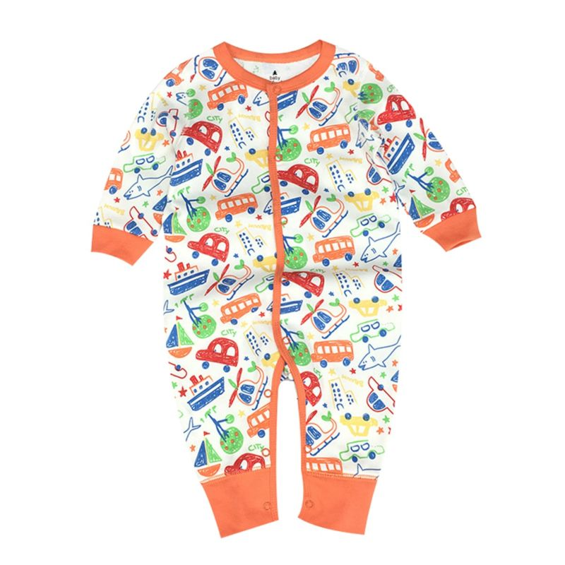 Spring Cartoon Car Baby Buttoned Jumpsuit