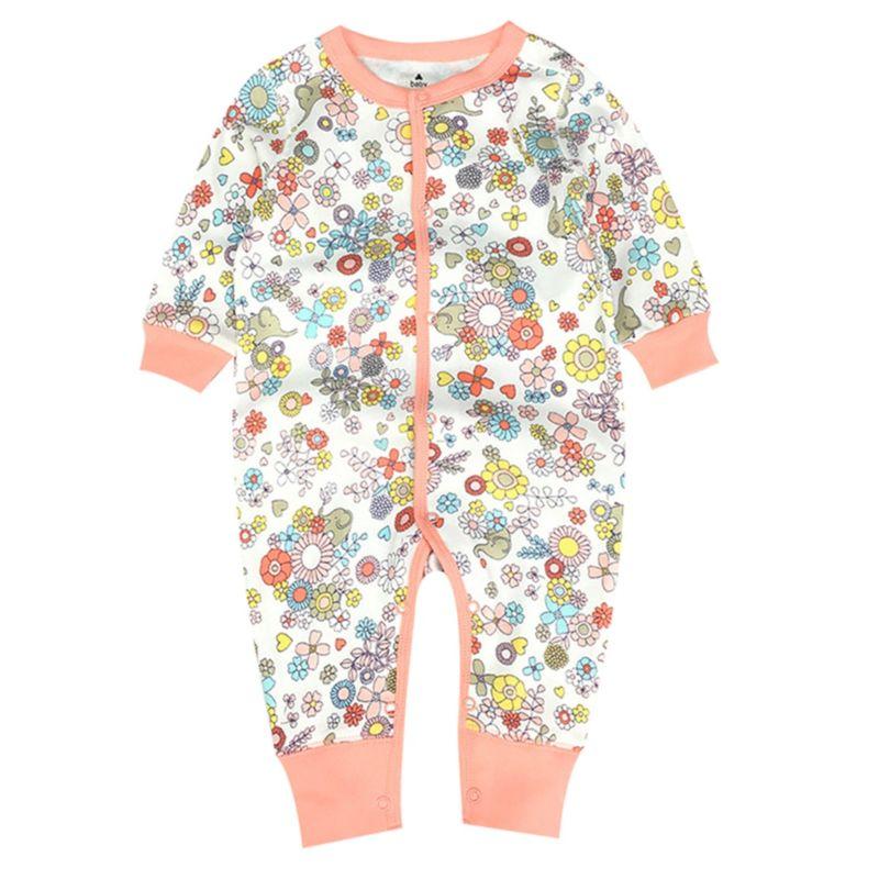 Spring Flower Leaf Print Infant Boys Girls Buttoned Overalls