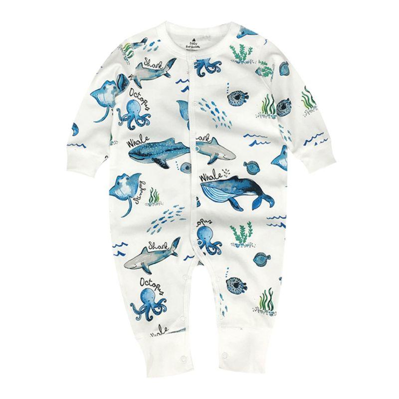 Spring Cartoon Animal Buttoned Baby Sleepsuit