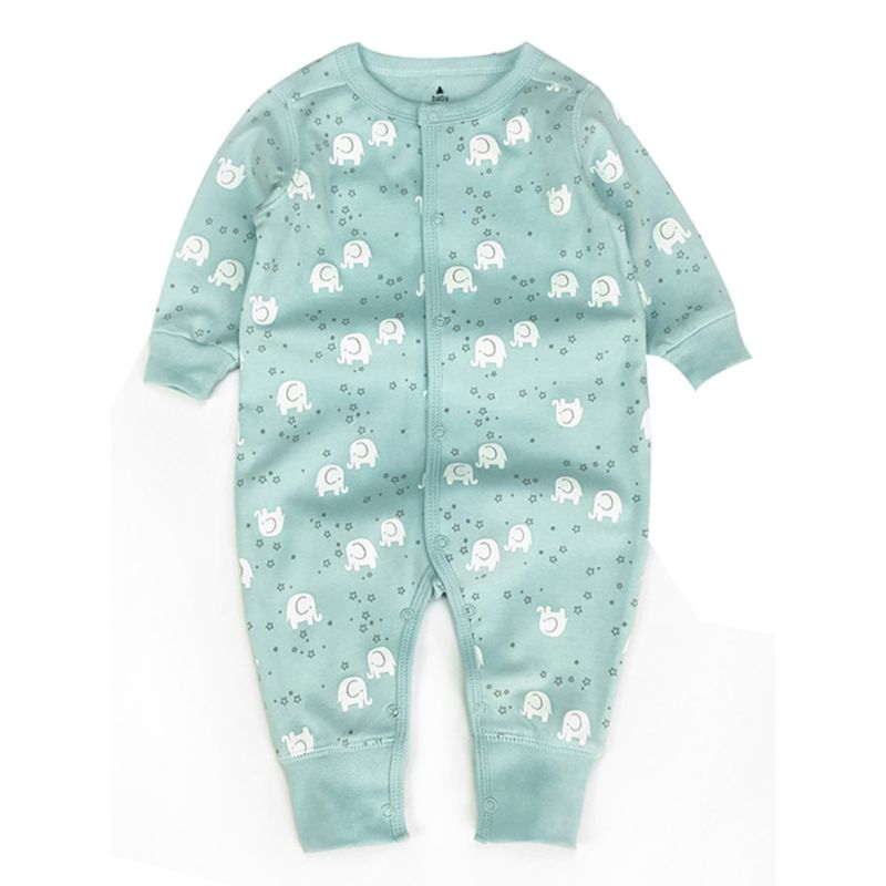 Spring Cartoon Animal Buttoned Baby Jumpsuit