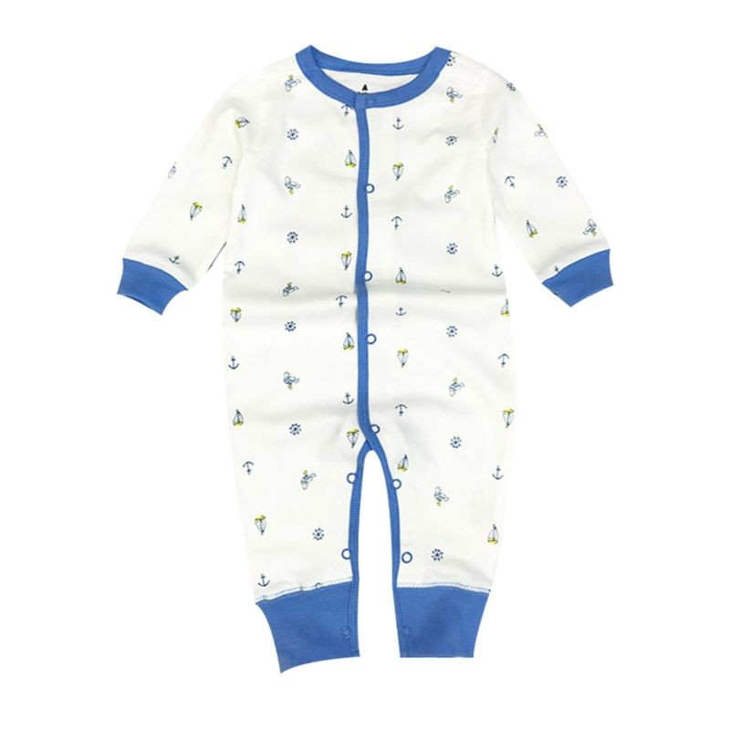 Spring Baby Unisex Printed Buttoned Jumpsuit