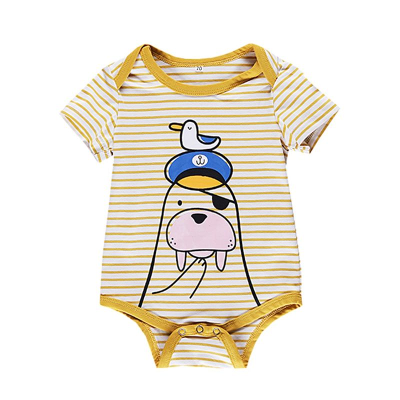 Summer Cartoon Sea Dog Duck Stripe Baby Bodysuit