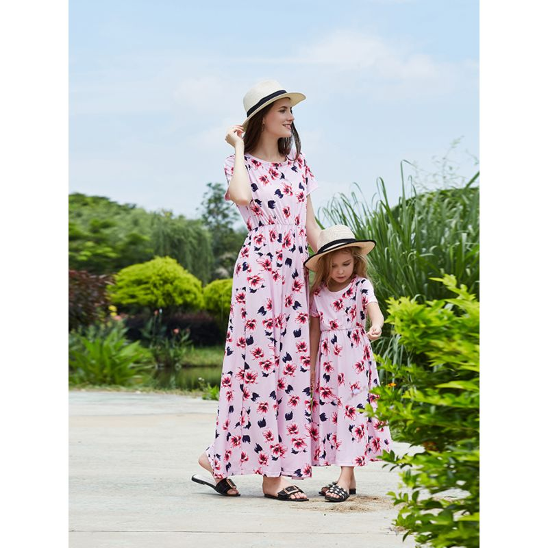 Mommy and Daughter Summer Flower Long Dress