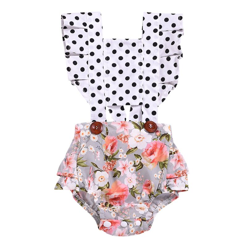 Polka Dots Flower Frilled Baby Girl Summer Romper Bodysuit