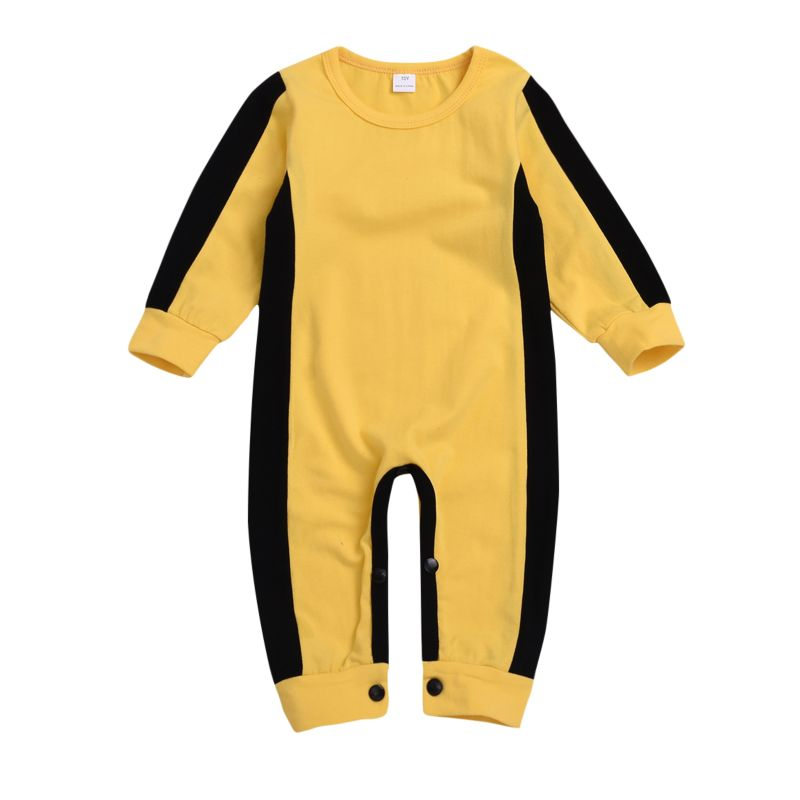 Spring Baby Yellow and Black Jumpsuit Overalls