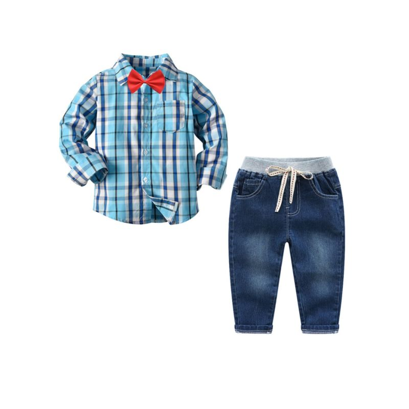 3-Piece Spring Toddler School Boys Outfits Checked Long Sleeve Shirt Top +Casual Denim Trousers + Bow Tie