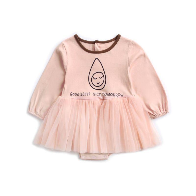 Adorable Long Flutter Sleeve Cartoon Print Baby Little Girl Mesh Romper Dress