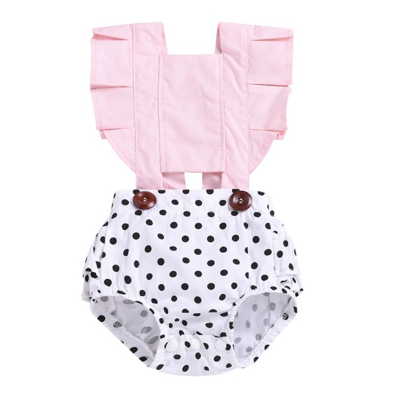 Summer Infant Girl Frilled Polka Dots Bodysuit Onesie