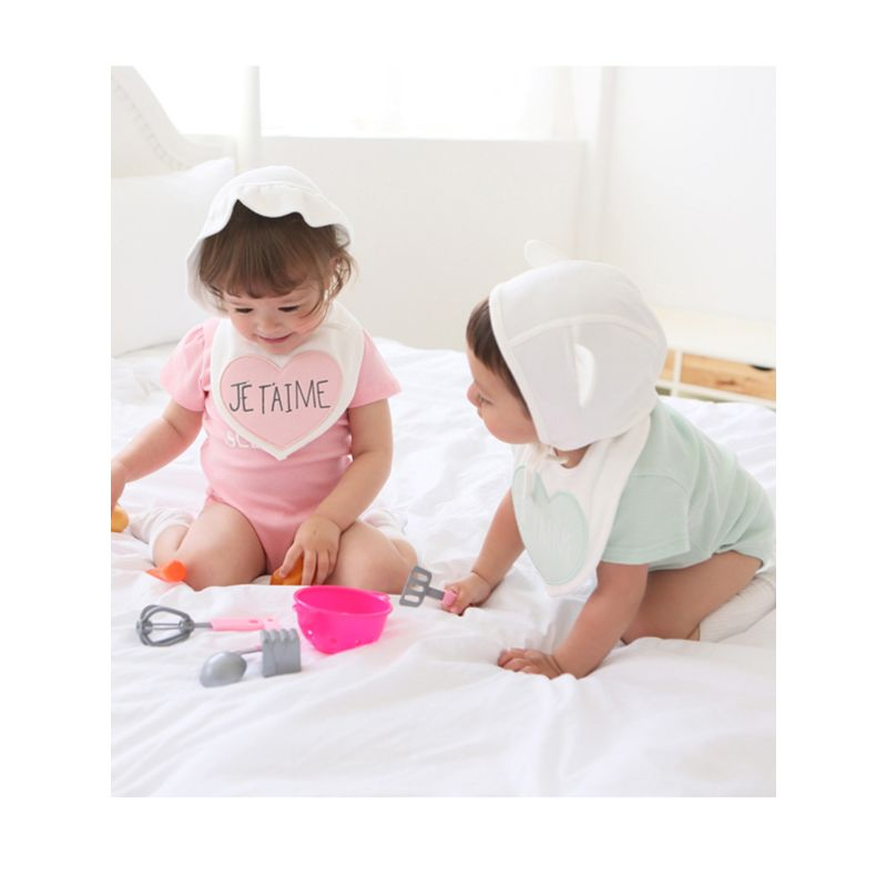 3-Piece Adorable Baby Girl Clothes Outfits Set Love Heart JE TAIME Bib + Bodysuit + White Hat