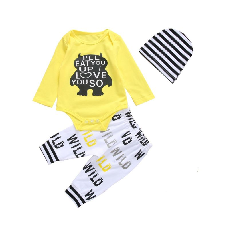 3-Piece Spring Baby Clothes Outfits I'LL EAT YOU UP!I LOVE YOU SO Cartoon  Monster Bodysuit+Pants+Hat