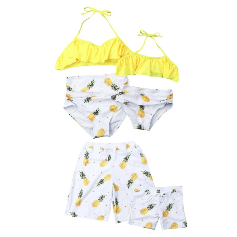 Family Matching Pineapple Print Swimming Trunks for Father and Son