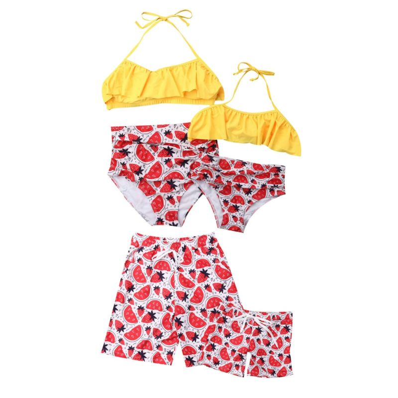 Family Matching Strawberry  Print Swimming Trunks for Father and Son