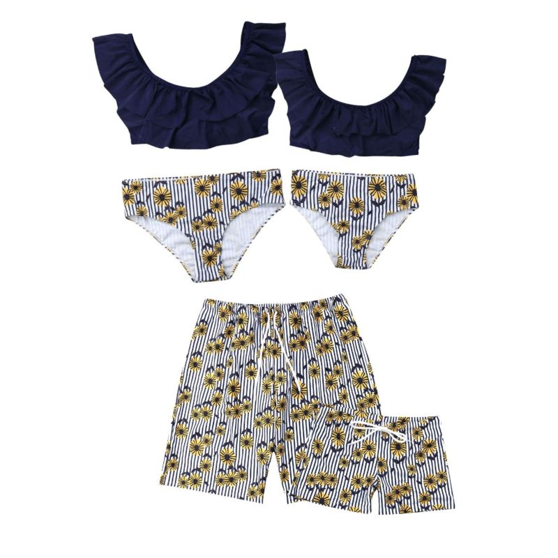 Family Matching Flower Print Swimming Trunks for Father and Son