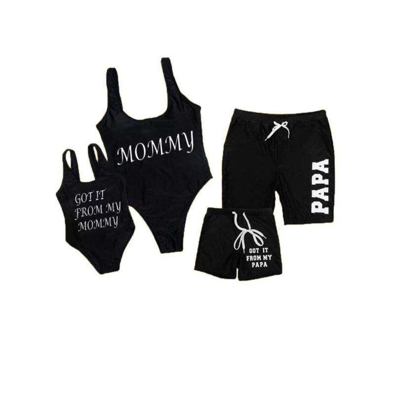Family Matching Letters Print One Piece Swimsuit for Mom and Daughter