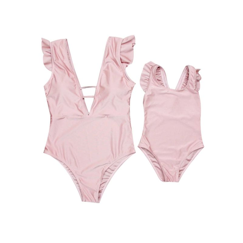 Mommy and Me Pink Frilled One Piece Bathing Suit