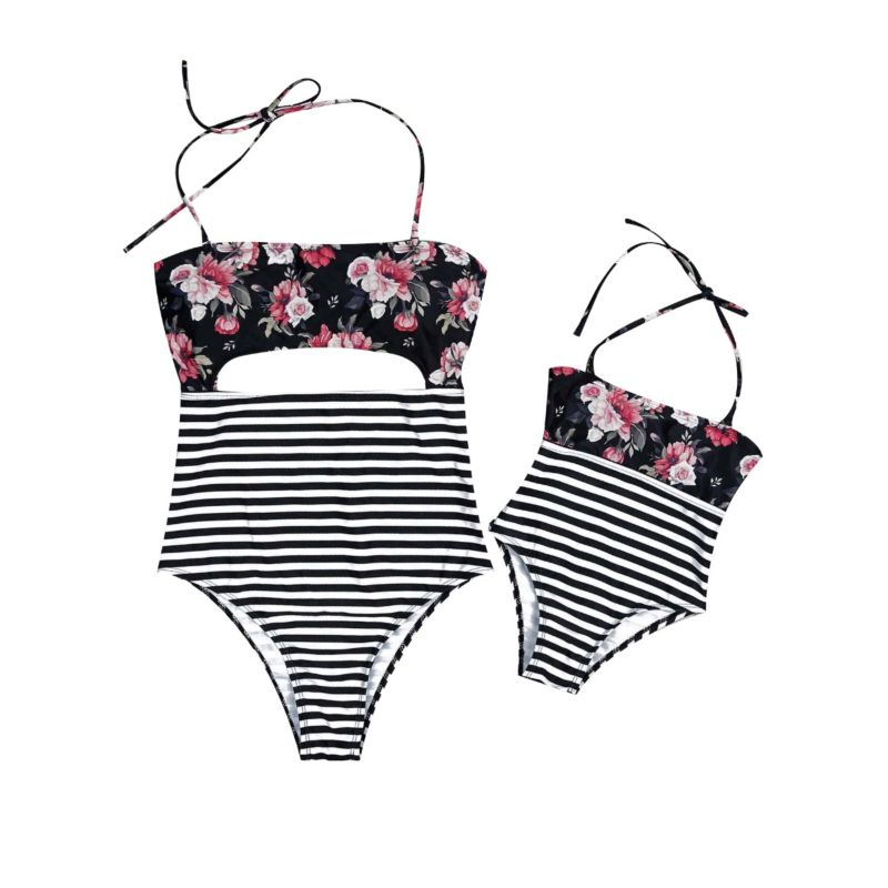 Mommy and Daughter Flower Striped Halter Neck Swimming Suit