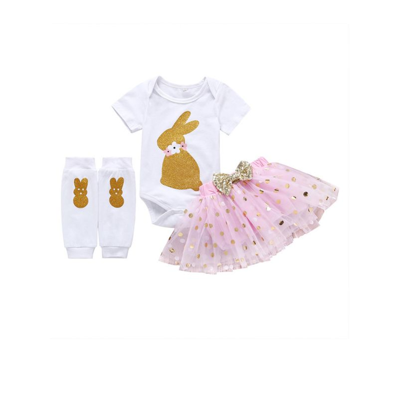 3-Piece Baby Girl Easter Clothes Outfits Bunny Bodysuit +Bow Tulle Skirt+Legwarmers