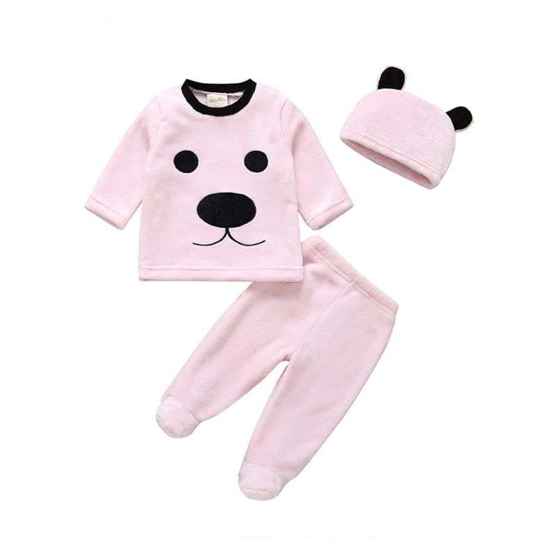 3-Piece Baby Fleece-lined Animal Pattern Homewear Set Pullover Top+Footed Pants+Hat