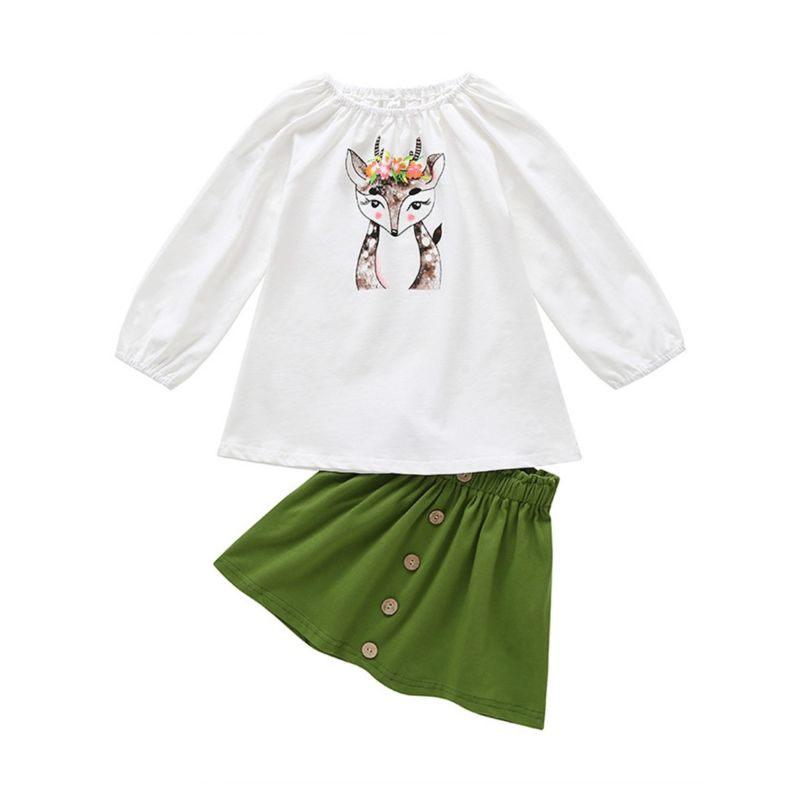 2-Piece Spring Baby Little Girl Clothes Outfits Reindeer Off Shoulder Pullover+Green Buttoned A-line Skirt