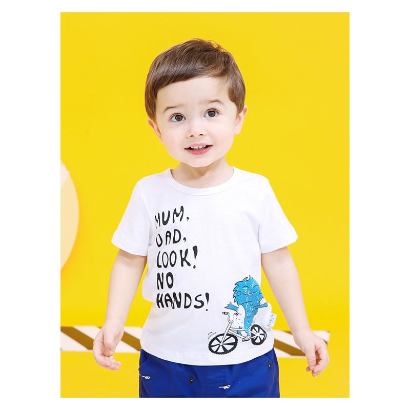 Summer MUM,DAD,LOOK!NO HANDS! Cartoon Print Baby Toddler Boys T-shirt