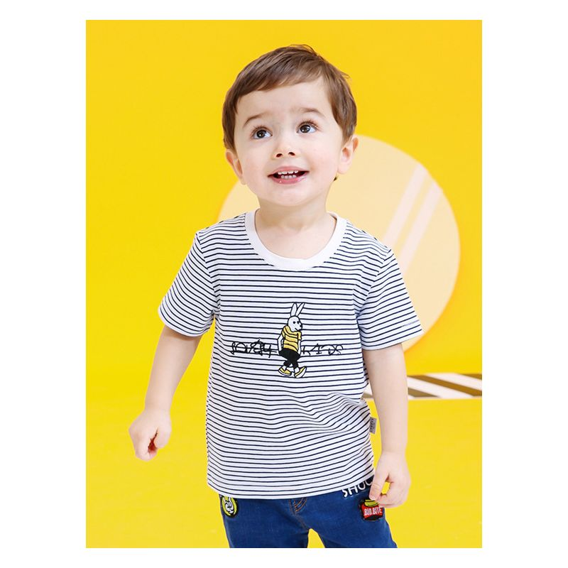 Baby Little Boys Rabbit Embroidery Stripe Easter T-shirt