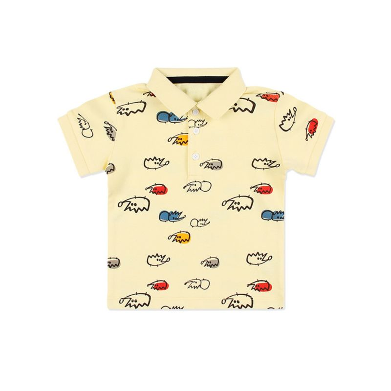 Summer Cartoon Animal Print Cotton Baby Little Boy Polo T-shirt