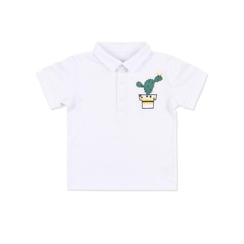 Summer Toddler Big Boys Cactus Cotton Polo T-shirt