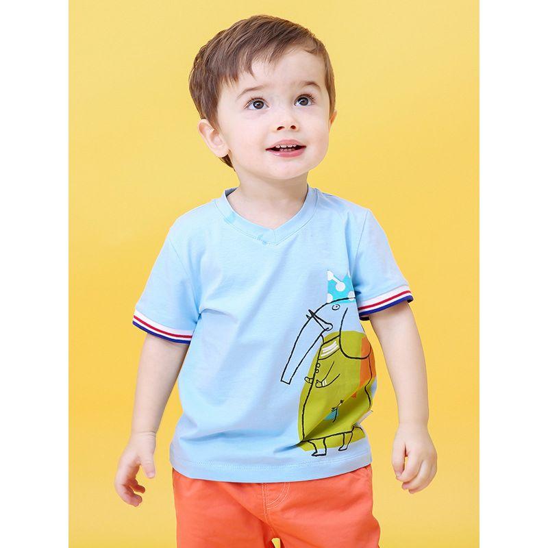 Infant Little Boys V Collar Elephant T-shirt