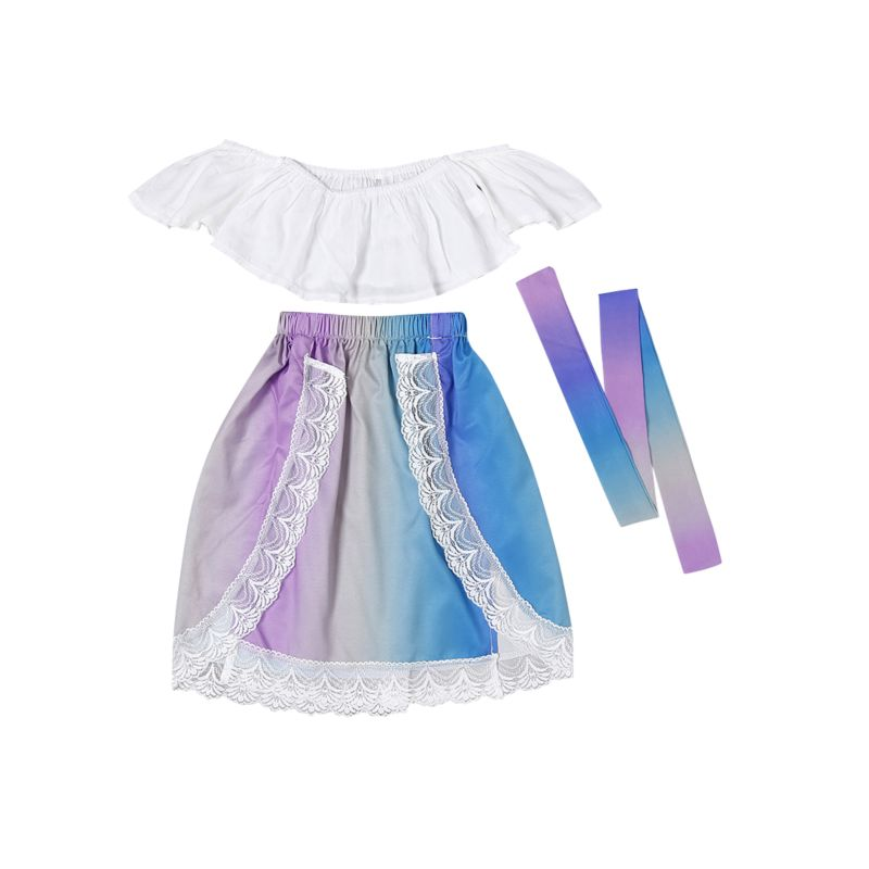 3-Piece Stylish Infant Little Girl Clothes Outfits White Off Shoulder Top+ Lace Colorful Skirt+Headband