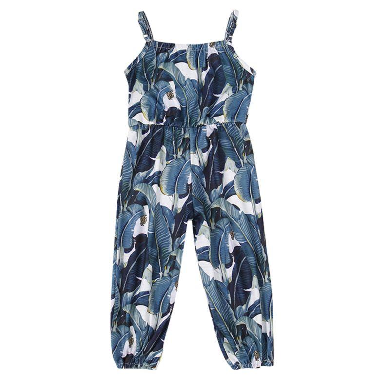 Summer Infant Little Girl Leaf Print Suspender Pants Jumpsuit