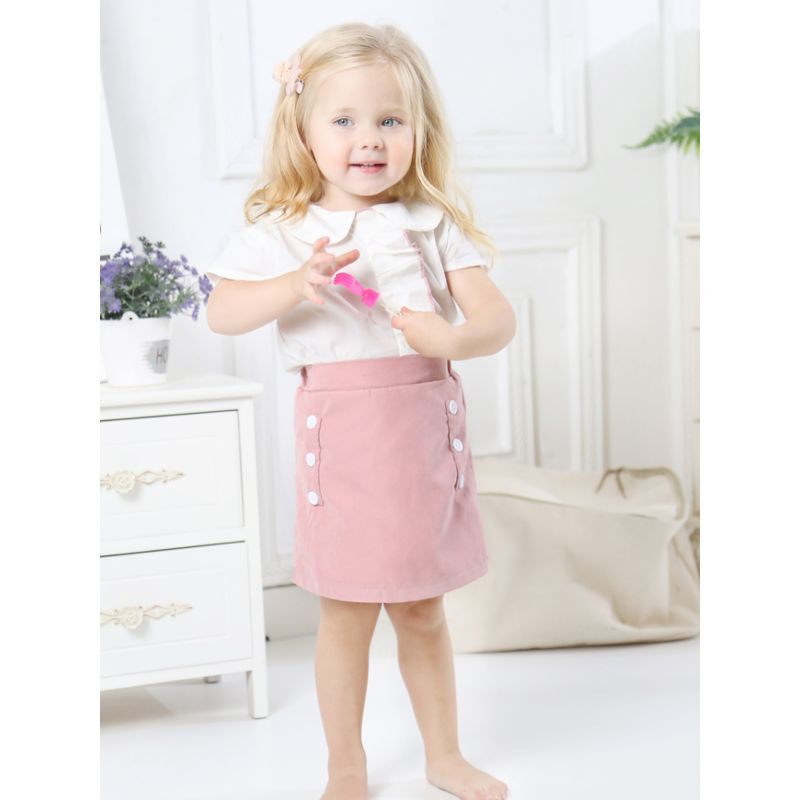 2-Piece Baby Little Girl Summer Outfits White Peter Pan Collar Blouse+Buttoned A-line Skirt