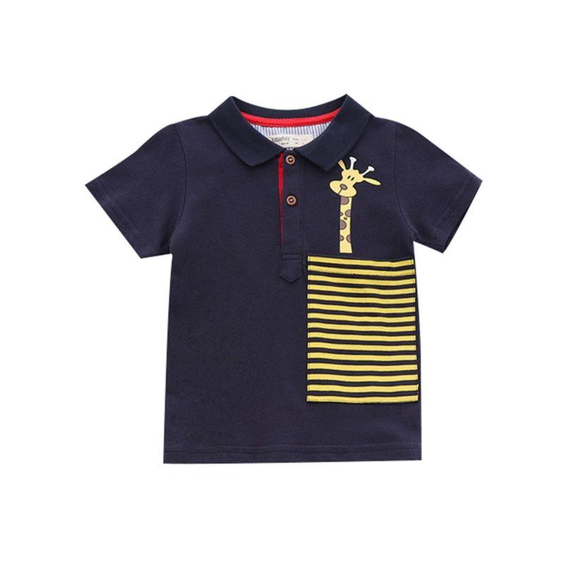 5-PACK Summer Toddler Big Boy Giraffe Stripe Polo T-shirt