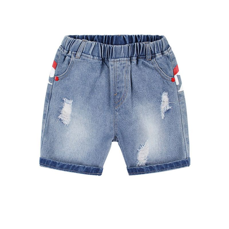 Summer Baby Little Boy Shark Pattern Ripped Short Denim Pants