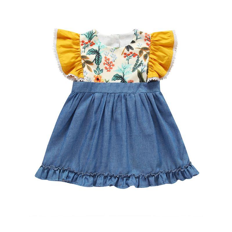 Summer Infant Little Girl Flutter Sleeve Denim Patchwork Ruffle Dress