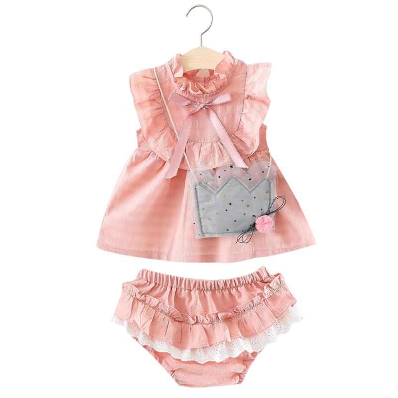 3-Piece Summer Baby Girl Dress Outfits Bow Ruffle Dress+Frilled Lace Shorts+Decorative Mini Bag(GREY/PINK MINI BAG DELIVERED AT RANDOM)