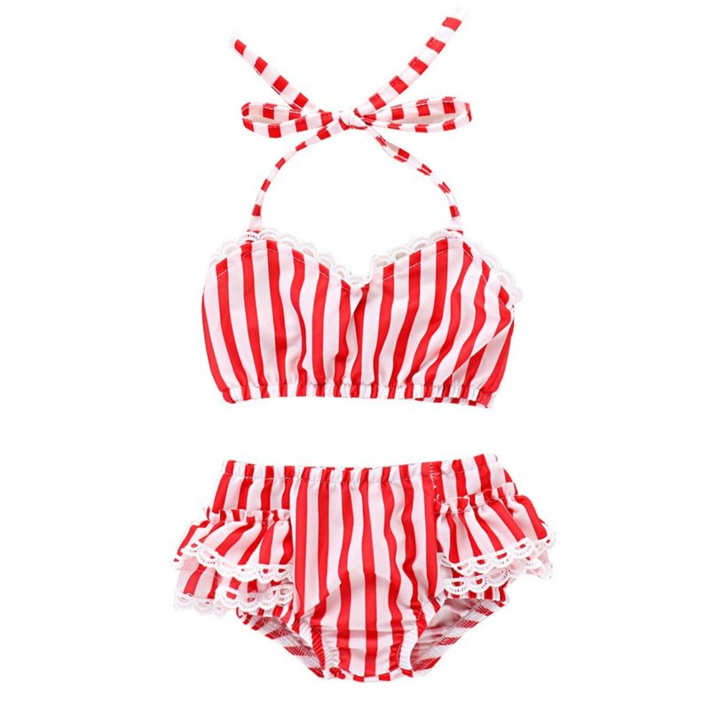 2-Piece Toddler Girl White and Red Tankini Bikini +Frilled Shorts