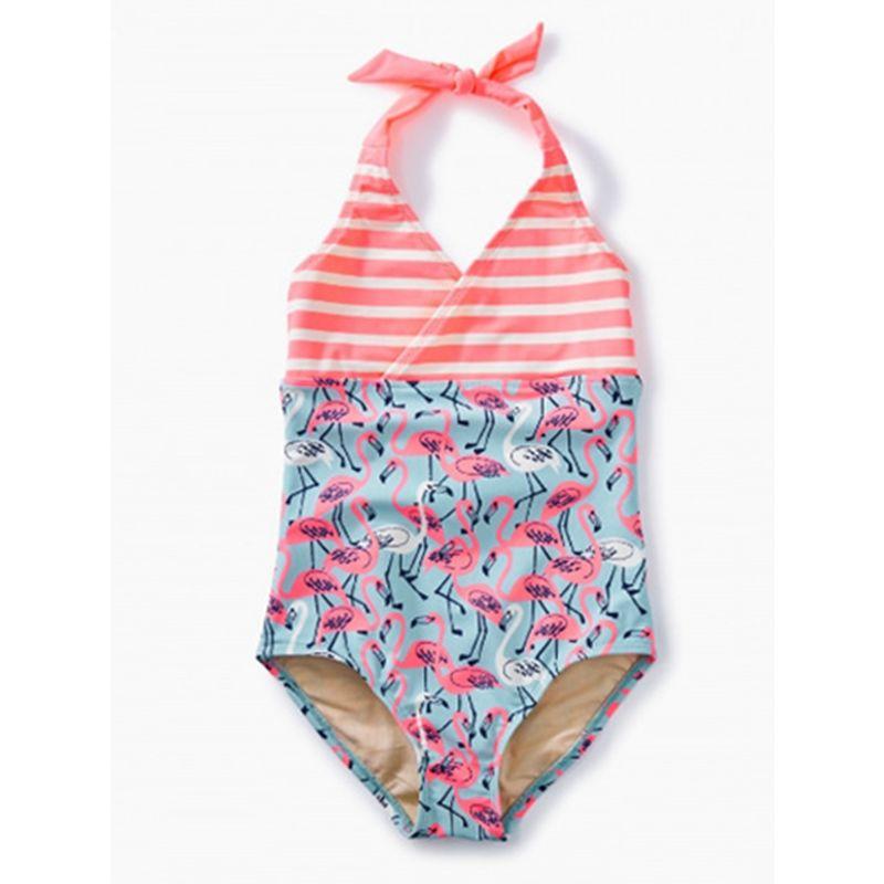 Stylish Flamingo/Flower Little Girl Halter Neck One Piece Bathing Suit