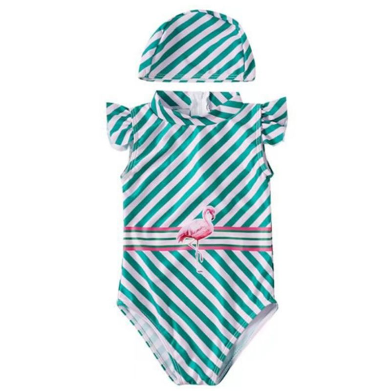 Baby Little Girl Stripe Flamingo Frilled One Piece Swimsuit with Swimming Cap
