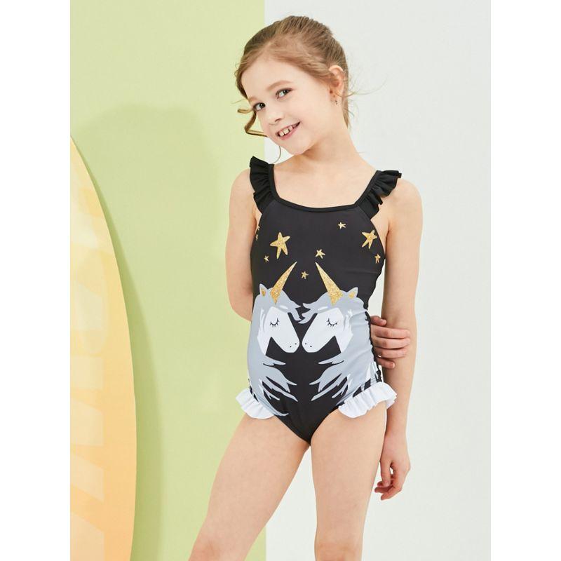 Cartoon Frilled Little Big Kids Unicorn One Piece Bathing Suit